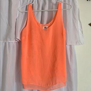 Flowy, tangerine colored, tank top